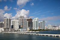 Miami, Florida.  Miami Skyline behind the Venetian Causeway.