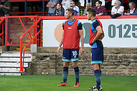 Dan Rowe of Wycombe Wanderers (right) during the Friendly match between Aldershot Town and Wycombe Wanderers at the EBB Stadium, Aldershot, England on 26 July 2016. Photo by Alan  Stanford.
