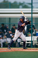 GCL Yankees East shortstop Borinquen Mendez (4) at bat during the first game of a doubleheader against the GCL Pirates on July 31, 2018 at Pirate City Complex in Bradenton, Florida.  GCL Yankees East defeated GCL Pirates 2-0.  (Mike Janes/Four Seam Images)