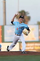 Harrison Cooney (11) of the Inland Empire 66ers pitches during a game against the San Jose Giants at San Manuel Stadium on May 30, 2015 in San Bernardino, California. Inland Empire defeated San Jose, 6-4. (Larry Goren/Four Seam Images)