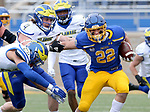 BROOKINGS, SD - MAY 8: Isaiah Davis #22 of the South Dakota State Jackrabbits scampers for a big gains against the Delaware Fightin Blue Hens on May 8, 2021 in Brookings, South Dakota. (Photo by Dave Eggen/Inertia)