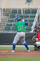 Chase Vallot (15) of the Lexington Legends at bat against the Kannapolis Intimidators at CMC-Northeast Stadium on May 26, 2015 in Kannapolis, North Carolina.  The Intimidators defeated the Legends 4-1.  (Brian Westerholt/Four Seam Images)