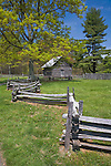 Blue Ridge Parkway, VA<br /> Puckett cabin homesite, historic log cabin and split rail fence