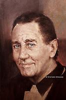 Particolare de ritratto ufficiale di Alberto Sordi nel centenario dalla sua nascita 1925/2020, foto realizzata nello studio del pittore Rinaldo Geleng in occasione del suo ritratto ufficiale. Roma 2000