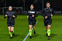 referee Jana Van Laere (M) with assistant referee Shauni Depruyst (L) and Stijn Mertens (R) pictured before a female soccer game between AA Gent Ladies and SV Zulte-Waregem on the fifth matchday in the 2021 - 2022 season of Belgian Scooore Womens Super League , friday 1 October 2021  in Oostakker , Belgium . PHOTO SPORTPIX | STIJN AUDOOREN