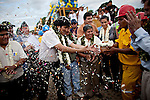 ©PATRICIO CROOKER<br /> Cochabamba, Bolivia<br /> A picture dated July 3, 2011 shows Bolivian President Evo Morales in the inaguration of the construction of a new road.