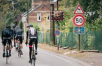 """trop vite!"" / peloton caught speeding<br /> <br /> 2018 Binche - Chimay - Binche / Memorial Frank Vandenbroucke (1.1 Europe Tour)<br /> 1 Day Race: Binche to Binche (197km)"