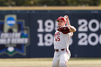 Arkansas Razorbacks pitcher Kevin Kopps (45) warms up in the outfield before the game against the Tennessee Volunteers on May 14, 2021, on Robert M. Lindsay Field at Lindsey Nelson Stadium in Knoxville, Tennessee. (Danny Parker/Four Seam Images)