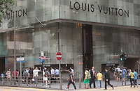 An exterior shot of the Louis Vuitton store, Central district, Hong Kong, China, 28 April 2014.