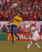 Brazil defender Andre Santos (6) heads the ball. Brazil  defeated the US men's national team, 2-0, in a friendly at Meadowlands Stadium on August 10, 2010.