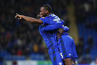 Junior Hoilett of Cardiff City celebrates scoring his sides first goal of the match with team mate Sol Bamba during the Sky Bet Championship match between Cardiff City and Ipswich Town at The Cardiff City Stadium, Cardiff, Wales, UK. Tuesday 31 October 2017