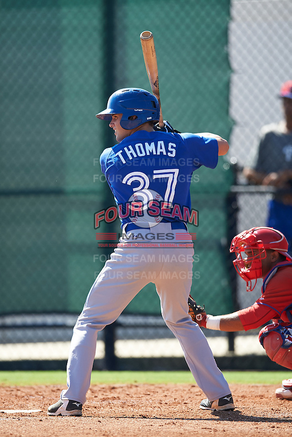 Toronto Blue Jays center fielder Lane Thomas (37) during an Instructional League game against the Philadelphia Phillies on October 1, 2016 at the Carpenter Complex in Clearwater, Florida.  (Mike Janes/Four Seam Images)