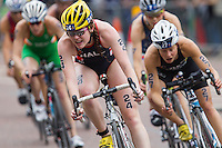 31 MAY 2014 - LONDON, GBR - Lucy Hall (GBR) (ENG) (centre, in dark blue with red and white) of Great Britain and England leads the front pack during the bike at the elite women's 2014 ITU World Triathlon Series round in Hyde Park, London, Great Britain (PHOTO COPYRIGHT © 2014 NIGEL FARROW, ALL RIGHTS RESERVED)