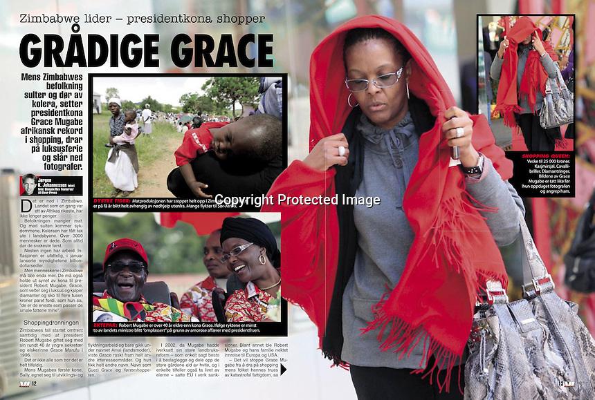 Scandinavian Newspaper, Vi Menn,, Jan 2009, showing the incident where Grace Mugabe attacked photographer Richard Jones. ©sinopix