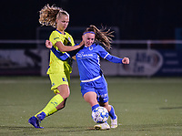 Lore Jacobs (17) of AA Gent battles for the ball with Fleur Pauwels (66) of KRC Genk pictured during a female soccer game between  Racing Genk Ladies and AA Gent Ladies ,  on the 6 th  matchday of the 2021-2022 season of the Belgian Scooore Womens Super League , friday 8 october 2021  in Genk , Belgium . PHOTO SPORTPIX | JILL DELSAUX
