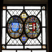 UK, England, Yorkshire.  16th.-Century English Stained Glass Depicting family Heraldry.  Originally from Kent, now installed in a Yorkshire Country Home.