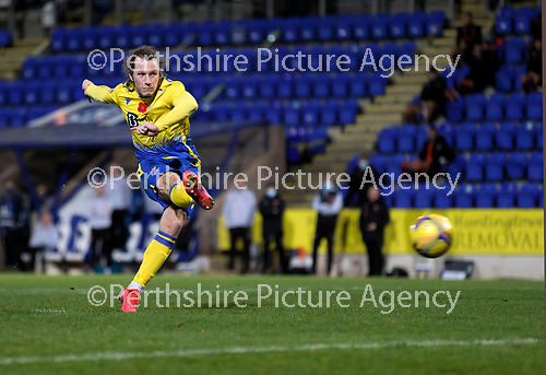 St Johnstone v Dundee United…10.11.20   McDiarmid Park      BetFred Cup<br />Stevie May's penalty is saved by Denis Mehmet<br />Picture by Graeme Hart.<br />Copyright Perthshire Picture Agency<br />Tel: 01738 623350  Mobile: 07990 594431