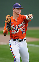 First baseman Jon McGibbon (12) of the Clemson Tigers prior to a game against the South Carolina Gamecocks on Tuesday, March 8, 2011, at Fluor Field in Greenville, S.C.  Photo by Tom Priddy / Four Seam Images