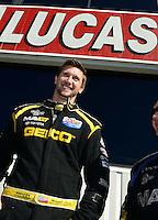 Nov. 11, 2012; Pomona, CA, USA: NHRA top fuel dragster driver Morgan Lucas during the Auto Club Finals at at Auto Club Raceway at Pomona. Mandatory Credit: Mark J. Rebilas-