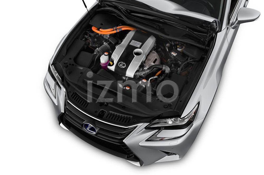 Car Stock 2017 Lexus GS Executive-Line 4 Door Sedan Engine  high angle detail view
