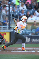Drew Mendoza (22) of the East team bats during the 2015 Perfect Game All-American Classic at Petco Park on August 16, 2015 in San Diego, California. The East squad defeated the West, 3-1. (Larry Goren/Four Seam Images)