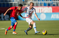 CARSON, CA - FEBRUARY 1: Jackson Yueill #6 of the United States tmoves past Cristopher Nunez #13 of  Costa Rica during a game between Costa Rica and USMNT at Dignity Health Sports Park on February 1, 2020 in Carson, California.