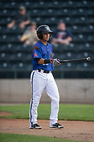 Missoula Osprey shortstop Brandon Leyton (12) during a Pioneer League game against the Orem Owlz at Ogren Park Allegiance Field on August 19, 2018 in Missoula, Montana. The Missoula Osprey defeated the Orem Owlz by a score of 8-0. (Zachary Lucy/Four Seam Images)