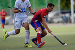 GER - Mannheim, Germany, October 02: During the men hockey match between Mannheimer HC (red) and HTC Uhlenhorst Muehlheim (white) on October 2, 2016 at Mannheimer HC in Mannheim, Germany. Final score 4-4 (HT 1-3). (Photo by Dirk Markgraf / www.265-images.com) *** Local caption *** Christopher Held #3 of Mannheimer HC