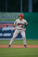 Auburn Doubledays Andrew Pratt (33) leads off second base during a NY-Penn League game against the Batavia Muckdogs on August 31, 2019 at Dwyer Stadium in Batavia, New York.  Auburn defeated Batavia 12-5.  (Mike Janes/Four Seam Images)