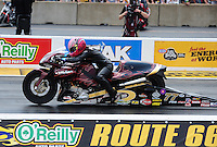 Jul, 10, 2011; Joliet, IL, USA: NHRA pro stock motorcycle rider Angie Smith during the Route 66 Nationals at Route 66 Raceway. Mandatory Credit: Mark J. Rebilas-