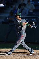 Charcer Burks #27 of the Boise Hawks bats against the Everett AquaSox at Everett Memorial Stadium on July 25, 2014 in Everett, Washington. Everett defeated Boise, 3-1. (Larry Goren/Four Seam Images)