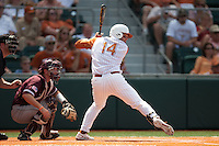 Texas Longhorns designated hitter Kevin Lusson #14 at bat during the NCAA baseball game against the Texas A&M Aggies on April 28, 2012 at UFCU Disch-Falk Field in Austin, Texas. The Aggies beat the Longhorns 12-4. (Andrew Woolley / Four Seam Images).