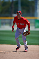 Boston Red Sox Ryan Court (12) during practice before a minor league Spring Training game against the Baltimore Orioles on March 16, 2017 at the Buck O'Neil Baseball Complex in Sarasota, Florida. (Mike Janes/Four Seam Images)