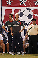 United States head coach Bob Bradley. The men's national teams of the United States and Argentina played to a 0-0 tie during an international friendly at Giants Stadium in East Rutherford, NJ, on June 8, 2008.