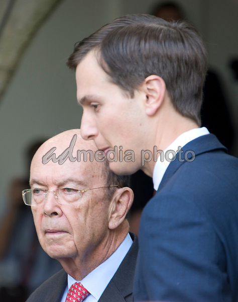 United States Secretary of Commerce Wilbur Ross arrives with senior advisor Jared Kushner prior to US President Donald J. Trump and Prime Minister Narendra Modi of India delivering joint statements in the Rose Garden of the White House in Washington, DC on Monday, June 26, 2017. Photo Credit: Ron Sachs/CNP/AdMedia