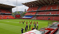 Standard players warming up before a female soccer game between Standard Femina de Liege and KAA Gent Ladies on the second match day of the 2021 - 2022 season of Belgian Scooore Womens Super League , Saturday 28 th of August 2021  in Liege, Belgium . PHOTO SPORTPIX | SEVIL OKTEM