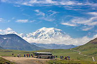 Tourists view of the North and South peaks of Denali from Stony Dome in Denali National Park, Interior, Alaska
