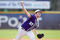 High Point Panthers relief pitcher Conor Lourey (37) delivers a pitch to the plate against the Coastal Carolina Chanticleers at Willard Stadium on March 15, 2014 in High Point, North Carolina.  The Chanticleers defeated the Panthers 1-0 in game one of a double-header.  (Brian Westerholt/Four Seam Images)
