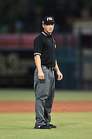 Umpire Derek Gonzales during a game between the Palm Beach Cardinals and Lakeland Flying Tigers on April 13, 2015 at Joker Marchant Stadium in Lakeland, Florida.  Palm Beach defeated Lakeland 4-0.  (Mike Janes/Four Seam Images)