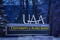 The UAA sign from the corner of Lake Otis Pkwy. and Providence Dr.
