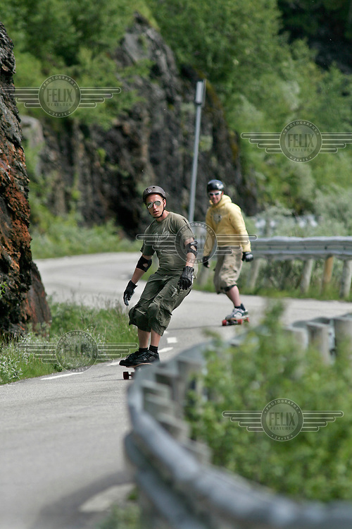 Jørgen Stokke Halvorsen and Morten Bechstrøm (in front) during a practice run down the mountain. The first ever Norwegian Longboarding Championship was held during the Extreme Sport Week, an annual event that draws adrenalin junkies to the small Norwegian mountain town of Voss. © Fredrik Naumann