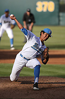 Moises Ceja (40) of the UCLA Bruins pitches against the California Bears at Jackie Robinson Stadium on March 25, 2017 in Los Angeles, California. UCLA defeated California, 9-4. (Larry Goren/Four Seam Images)