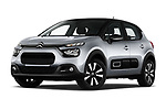 Stock pictures of low aggressive front three quarter view of 2020 Citroen C3 Shine 5 Door Hatchback Low Aggressive