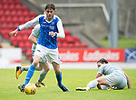 St Johnstone v Hartlepool…22.07.17… McDiarmid Park… Pre-Season Friendly<br />Murray Davidson wins a challenge against Jack Munns<br />Picture by Graeme Hart.<br />Copyright Perthshire Picture Agency<br />Tel: 01738 623350  Mobile: 07990 594431