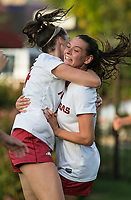 Hawgs Illustrated/BEN GOFF <br /> Taylor Malham (left) hugs Tori Cannata of Arkansas after Cannata scored in the first half vs Texas A&M Thursday, Sept. 20, 2018, at Razorback Field in Fayetteville.