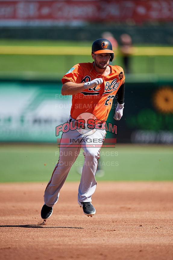 Baltimore Orioles left fielder Joey Rickard (23) runs the bases during a Grapefruit League Spring Training game against the Philadelphia Phillies on February 28, 2019 at Spectrum Field in Clearwater, Florida.  Orioles tied the Phillies 5-5.  (Mike Janes/Four Seam Images)