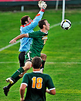 22 September 2008: University of Vermont Catamounts' backfielder Jake McFadden (17), a Senior from Colchester, VT, in action against the Colgate University Raiders at Centennial Field, in Burlington, Vermont. The Raiders edged out the Catamounts 2-1, handing the Soccer Catamounts their first home loss of the 2008 season. ..Mandatory Photo Credit: Ed Wolfstein Photo