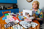 Pat Turner at home in Gallowsfield making face masks and has generated €3,100 for Pieta House to date.