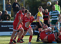 Luc Jones of Jersey Reds clears the ball during the Greene King IPA Championship match between Ealing Trailfinders and Jersey at Castle Bar, West Ealing, England  on 19 October 2019. Photo by Alan Stanford / PRiME Media Images