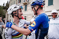 World Champion Julian Alaphilippe (FRA/Deceuninck - QuickStep) shares the joy of winning with his teammates<br /> <br /> Stage 2 from Camaiore to Chiusdino (202km)<br /> <br /> 56th Tirreno-Adriatico 2021 (2.UWT) <br /> <br /> ©kramon